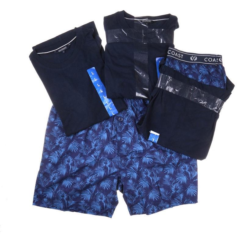 2 x COAST CLOTHING Men`s Tee & Short Sleep Set, Size L, Navy & Dark Blue. (