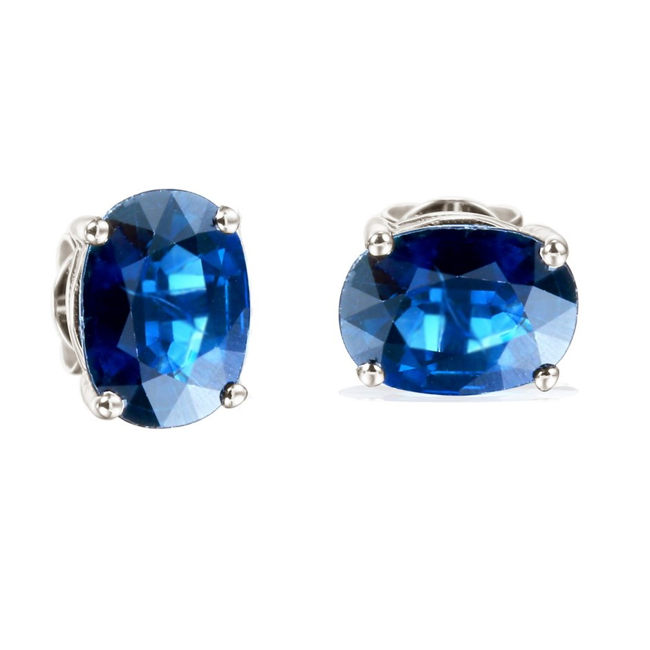 9ct White GOLD, 3.13CT Blue Sapphire Earrings