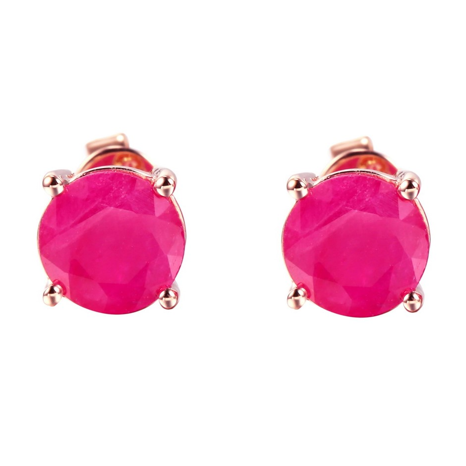 9ct Rose Gold, 2.39ct Ruby Stud Earrings
