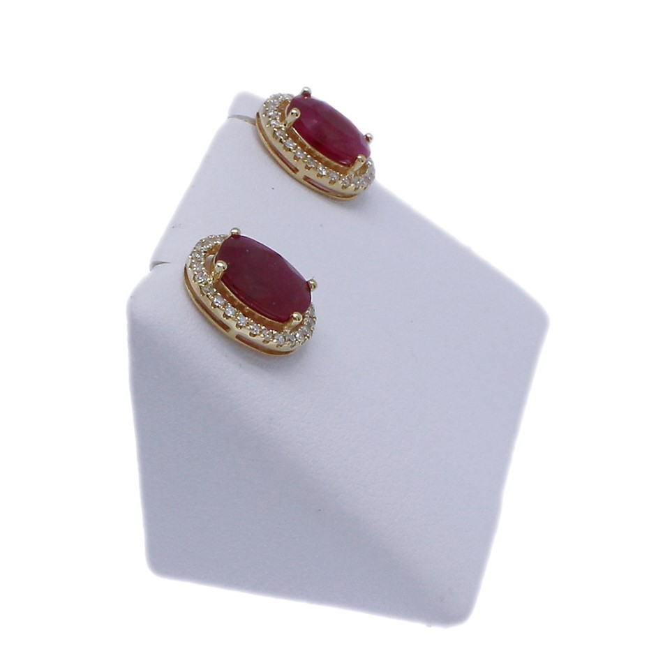 9ct Yellow Gold, 3.47ct Ruby & Diamond Stud Earrings