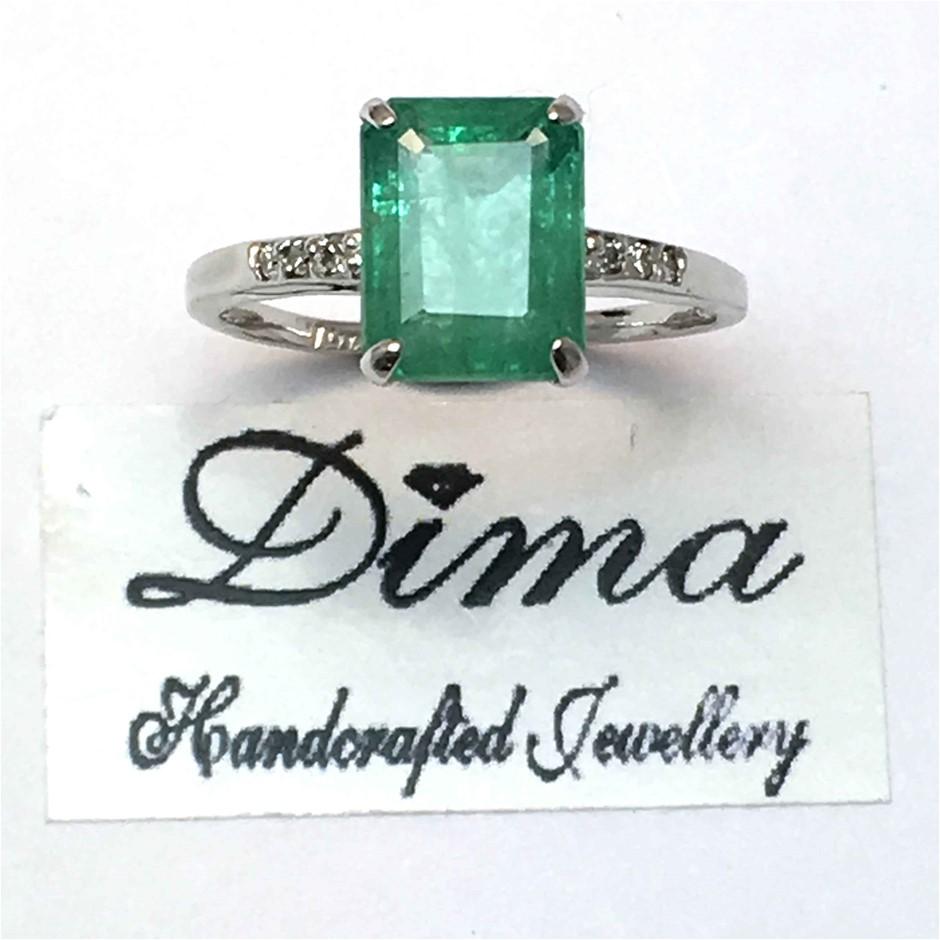 18ct White Gold, 2.89ct Emerald & Diamond Dress Ring
