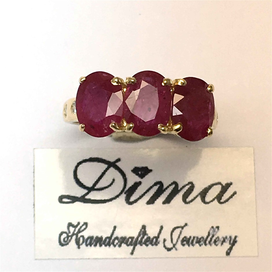 18ct yellow Gold, 3.40ct Ruby and Diamond Ring