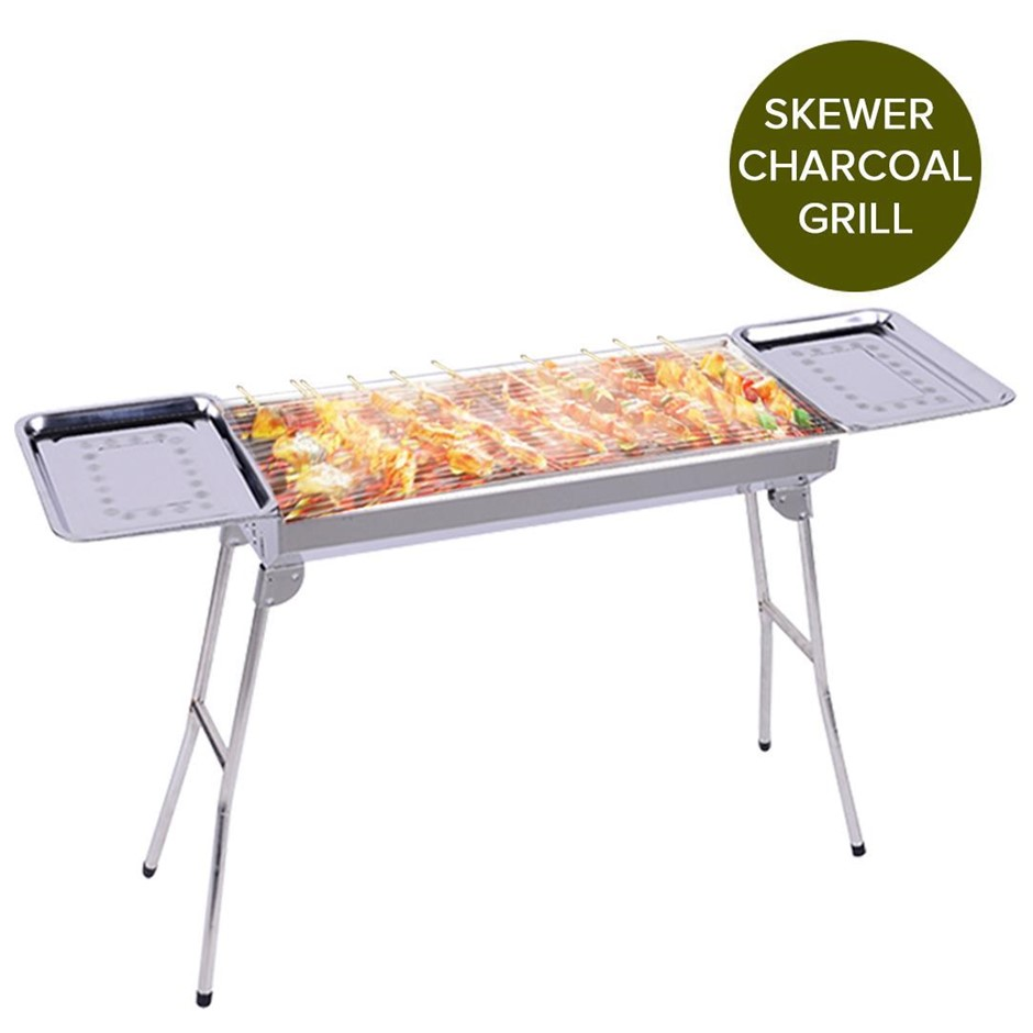 SOGA Skewers Grill w/Side Tray Portable S/S Charcoal BBQ O/door 6-8 Persons