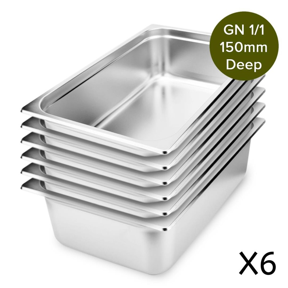 6 x Gastronorm GN Pan Full Size 1/1 GN Pan 150mm Deep Stainless Steel Tray