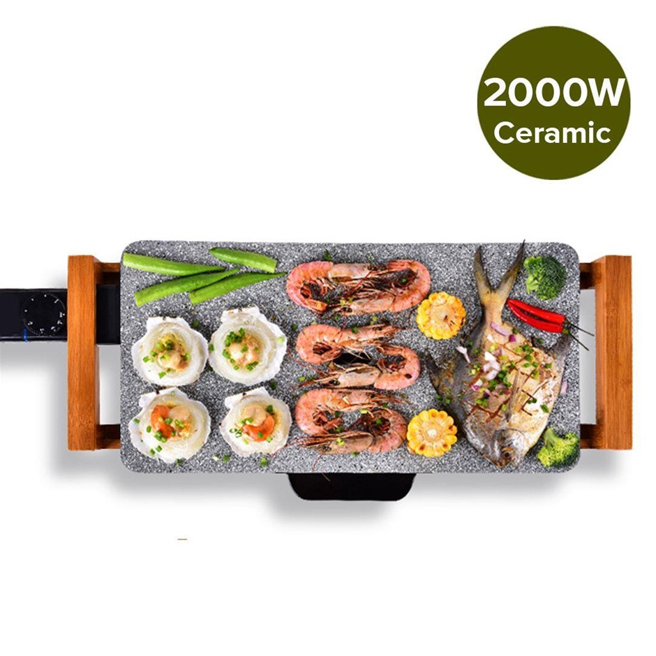 Electric Ceramic BBQ Grill Non-stick Surface Hot Plate Stone