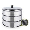 SOGA 3 Tier 22cm Stainless Steal Steamers With Lid Work