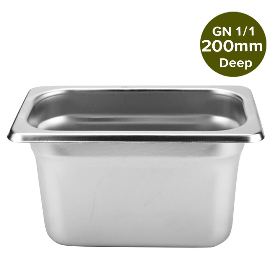 SOGA Gastronorm GN Pan Full Size 1/1 200mm Deep Stainless Steel Tray