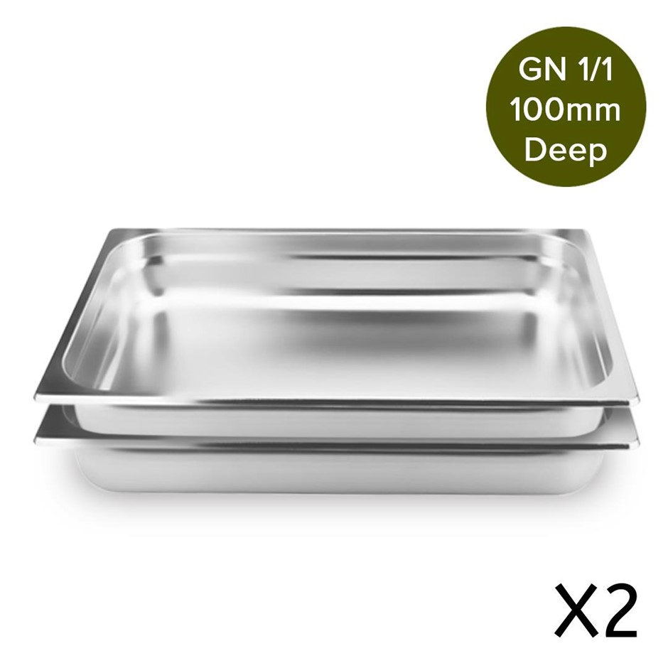 SOGA 2 x Gastronorm GN Pan 1/1 100mm Deep Stainless Steel Tray