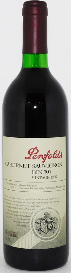 Penfolds `Bin 707` Cabernet Sauvignon 1996 (1 x 750mL) SA.