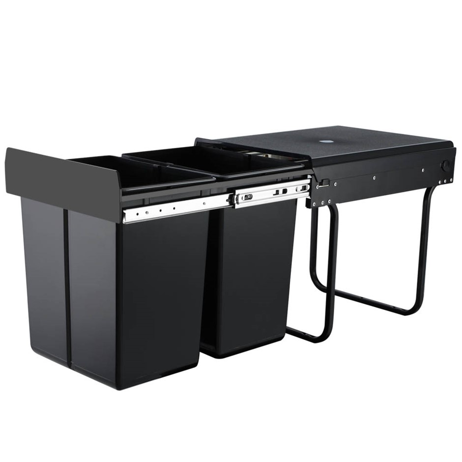 2X20L Pull Out Bin Kitchen Double Dual Twin Bins Sliding Waste Basket