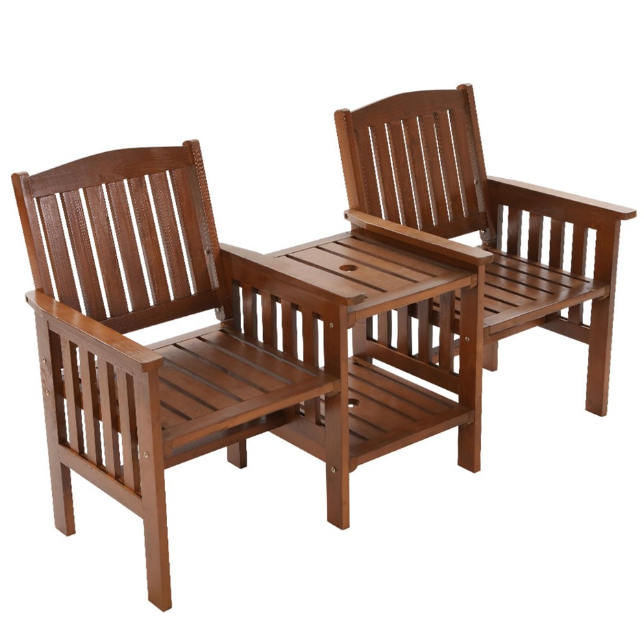Garden Bench Chair Table Loveseat Outdoor Furniture Patio Park Brown