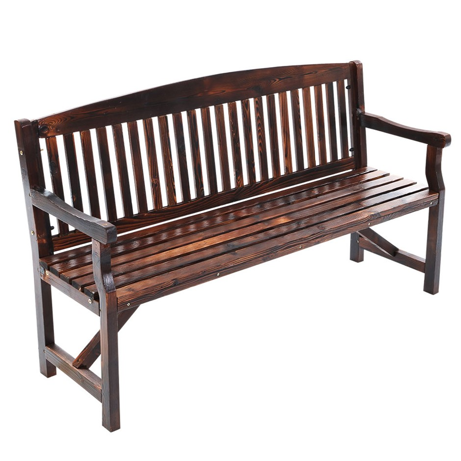 Garden Bench Chair 3 Seater Natural Wood Outdoor Decor Patio Deck Charcoal