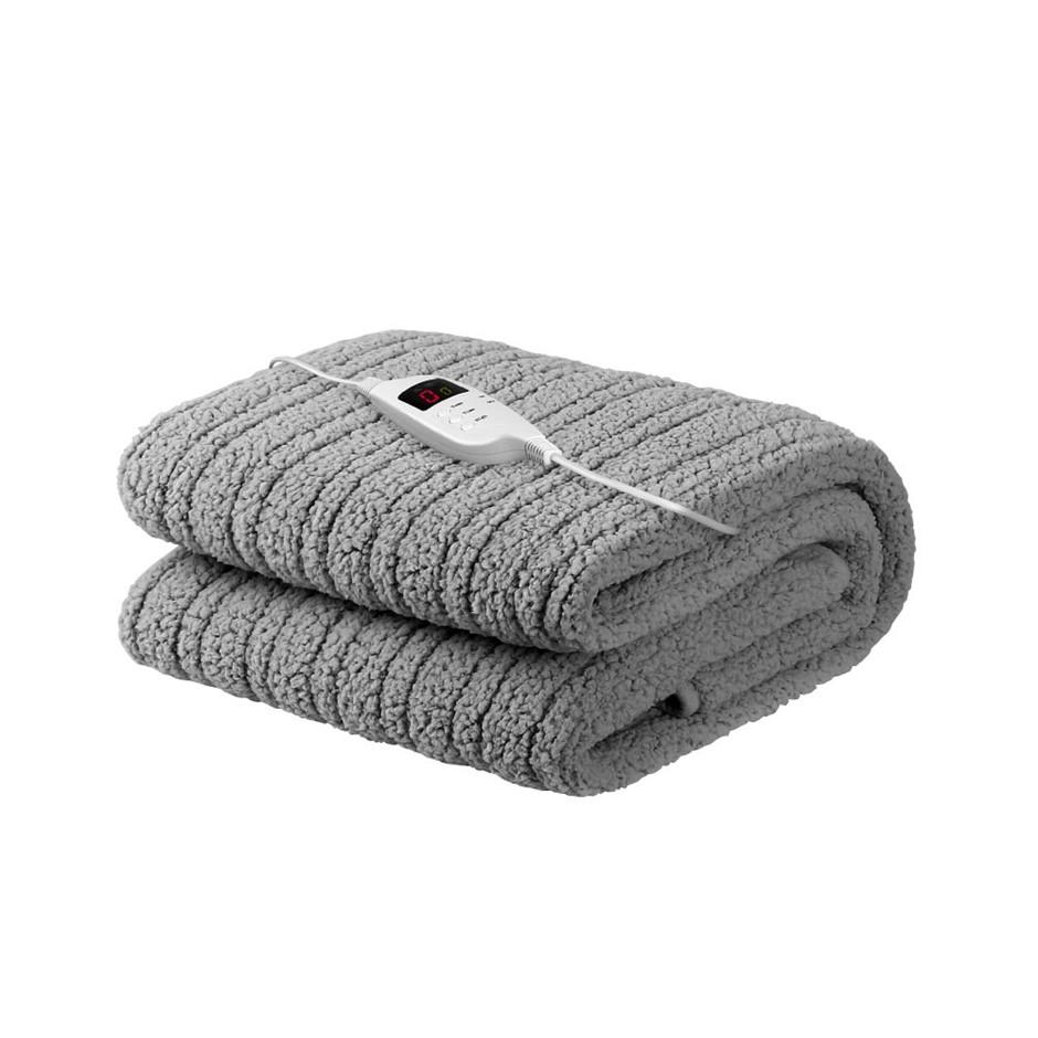 Giselle Bedding Washable Electric Heated Throw Rug Blanket Fleece Grey