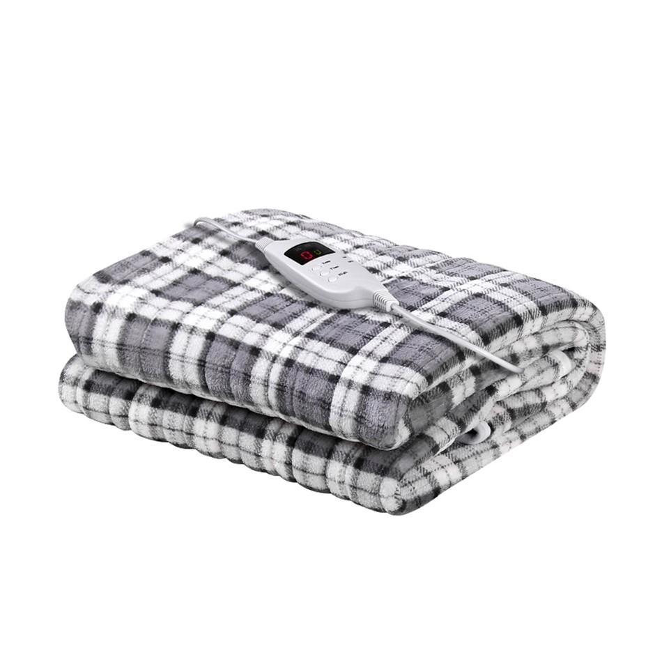 Giselle Bedding Washable Heated Electric Throw Rug Blanket Flannel Grey