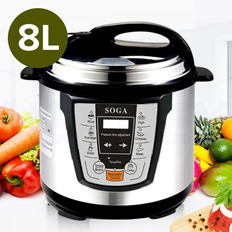 SOGA Electric Stainless Steel Pressure Cooker 8L 1000W Multicooker 16