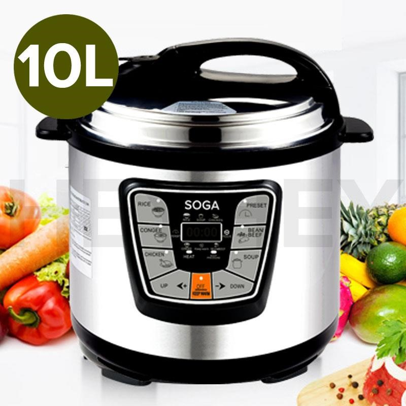 SOGA S/Steel Electric Pressure Cooker 10L Nonstick 1000W 12 Month Warranty