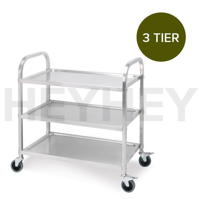 SOGA 3 Tier S/S Kitchen Dining Food Cart Trolley Utility - 85x45x90cm Med