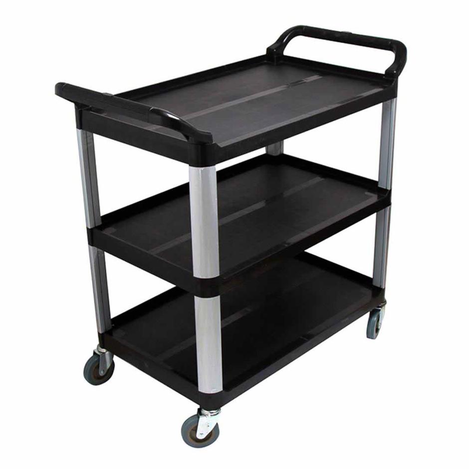 SOGA 3 Tier Trolley Food Waste Cart Strge Mech Kitchen Blk 10.2x50x96cm Lge