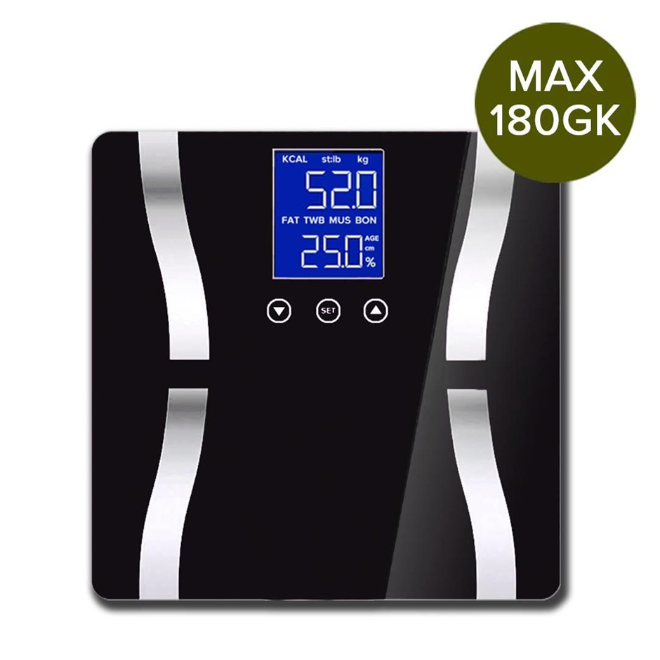 Digital Body Fat Scale Bathroom Weight Glass Water LCD Electric Black