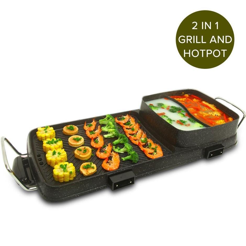 SOGA 2 in 1 Electric BBQ Grill Teppanyaki and Steamboat Hotpot