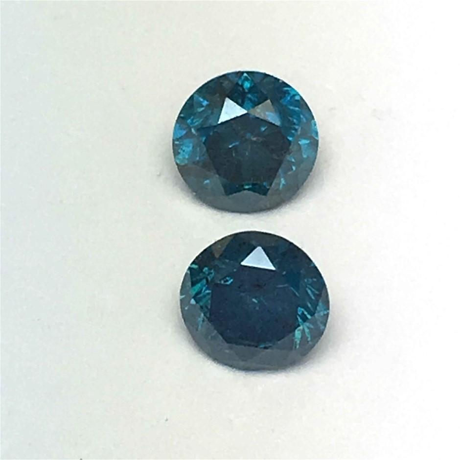 Two Stones Blue Diamond Round 0.26ct