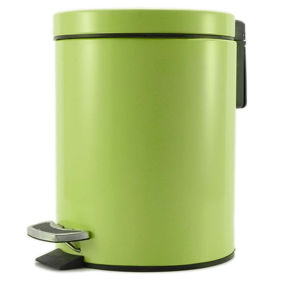 Foot Pedal Stainless Steel Garbage Waste Trash Bin Round 7L Green