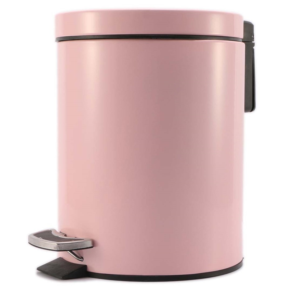 Foot Pedal Stainless Steel Garbage Waste Trash Bin Round 7L Pink