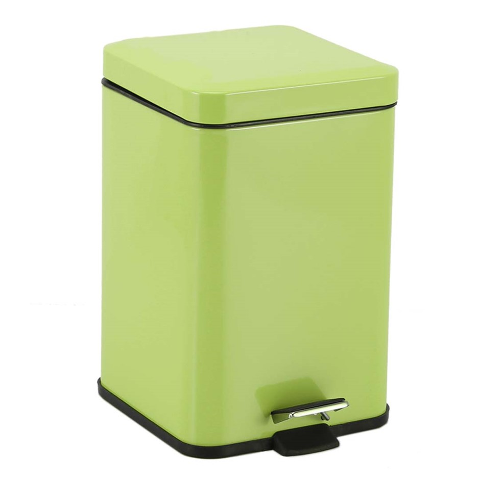 Foot Pedal Stainless Steel Garbage Waste Trash Bin Square 12L Green