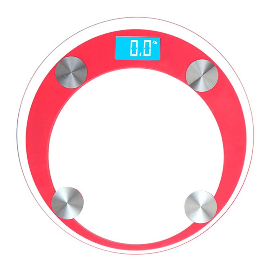 SOGA 180kg Dig. Fitness Wght Bathroom Gym Body Glass LCD Elec. Scales Red