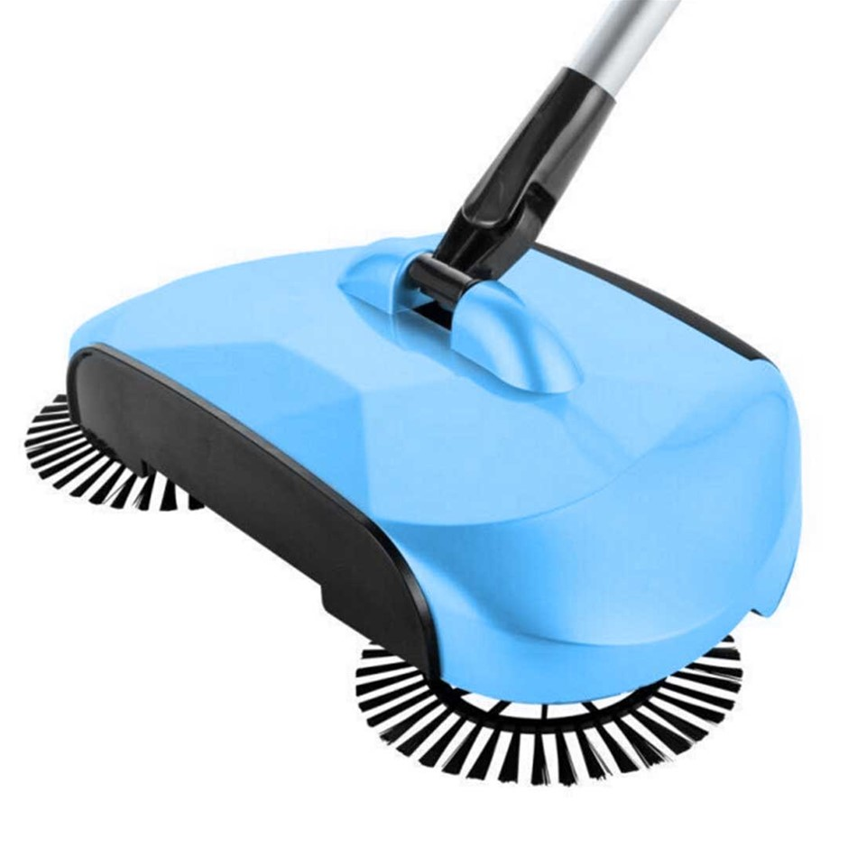 Auto Household Spin Hand Push Sweeper Broom Floor Dust Cleaner Mop Blue