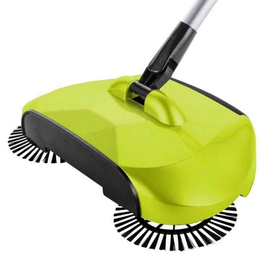 Auto Household Spin Hand Push Sweeper Broom Floor Dust Cleaner Mop Green