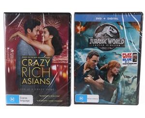 2 x DVD`s - CRAZY RICH ASIANS & JURASSIC