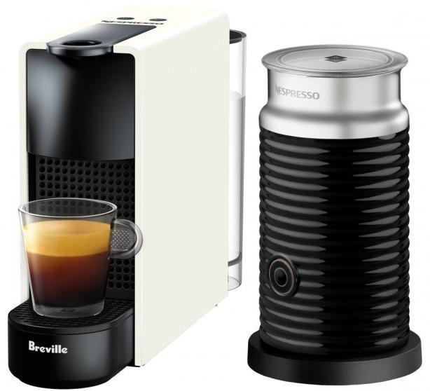 Nespresso Essenza Mini Capsule Coffee Machine with Milk Frother - White
