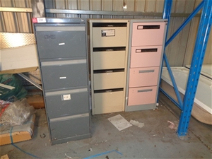 3x Assorted Steel 4 Drawer Filing Cabine