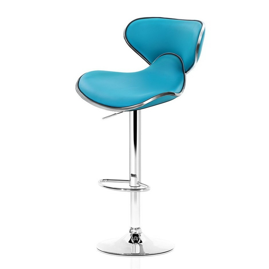 Artiss 2x Bar Stools DINO Swivel Bar Stool Leather Gas Lift Chairs Teal