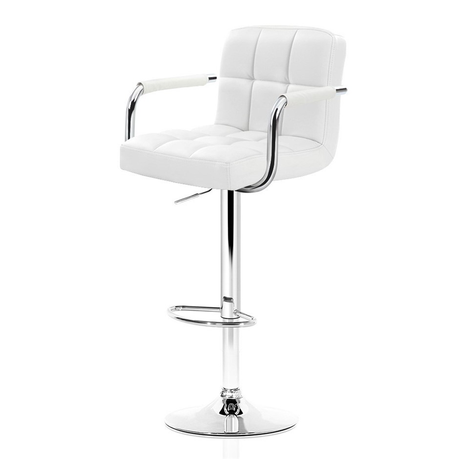 2xArtiss NOA Bar Stools Swivel Bar Stool Leather Gas Lift Chairs White
