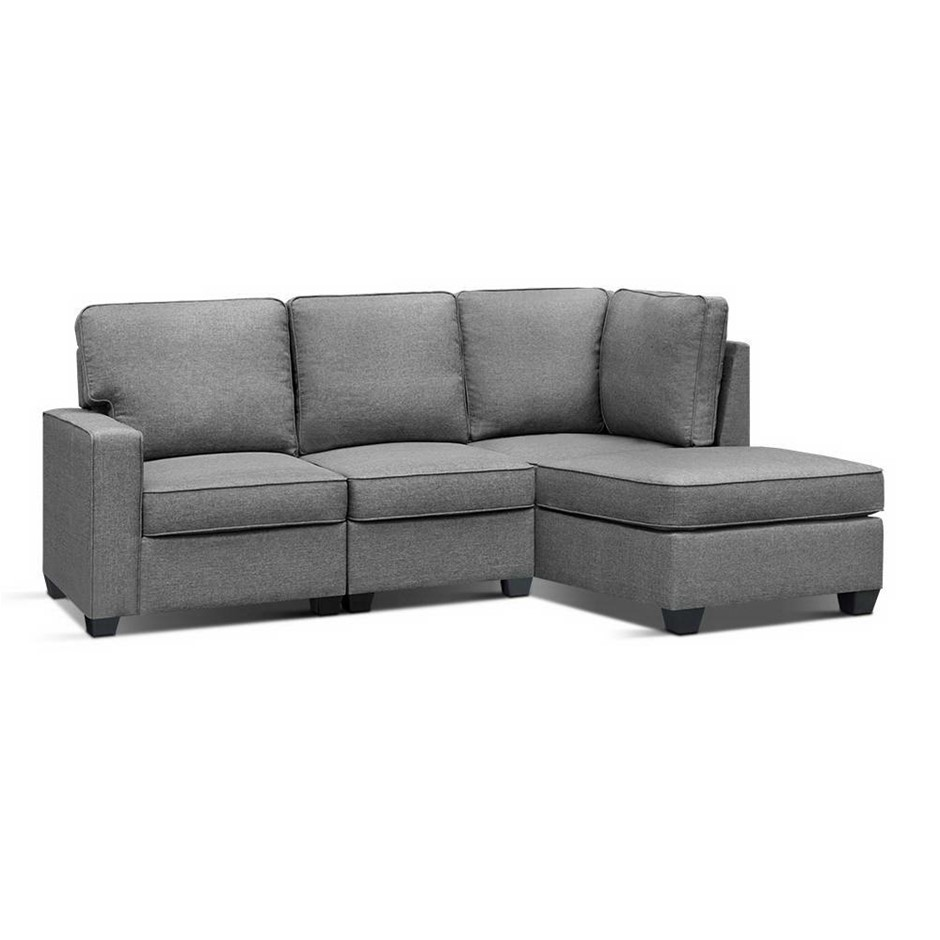 Artiss 5 Seater Sofa Lounge Chair Chaise Suite Corner Fabric Dark Grey