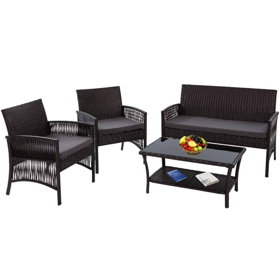 Gardeon Outdoor Furniture Rattan Set Garden Wicker Patio Cushion 4pc Black