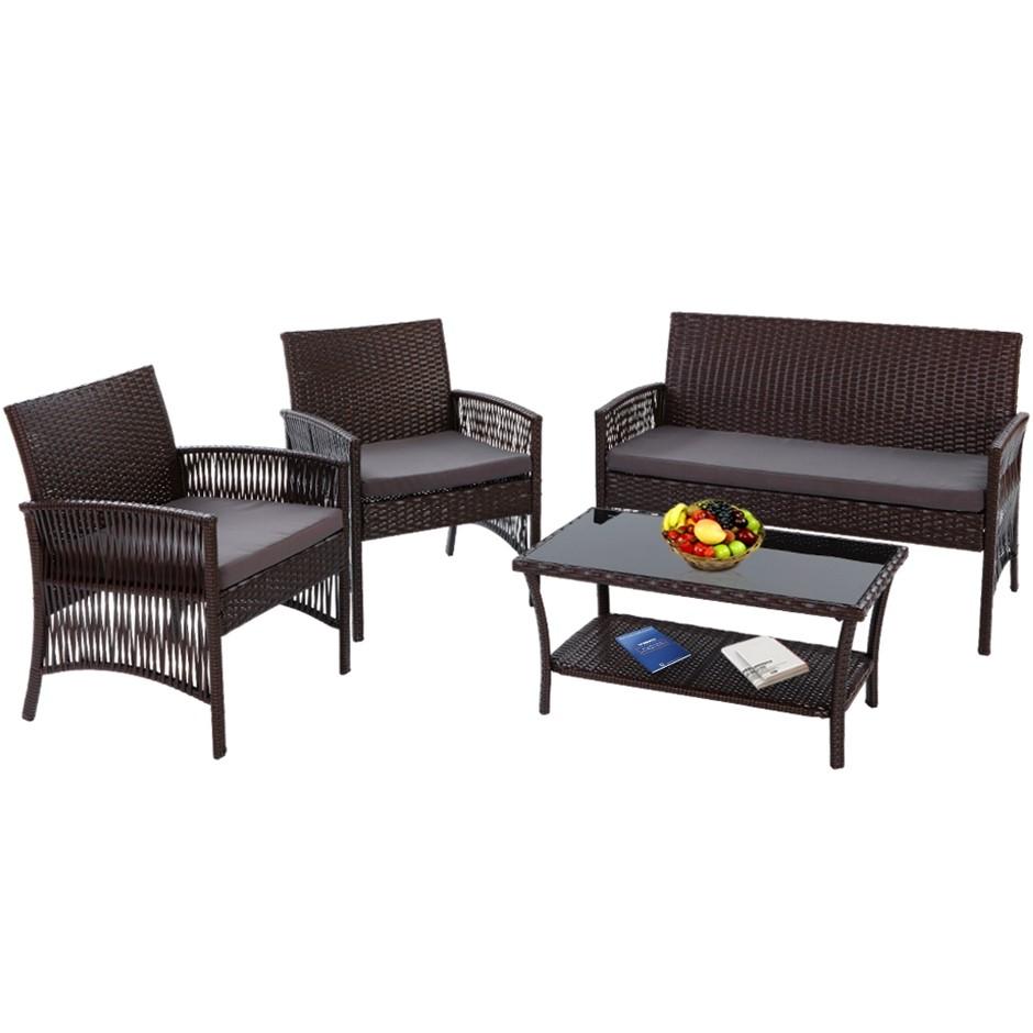 Gardeon Outdoor Furniture Rattan Set Garden Wicker Patio Cushion 4pc Brown