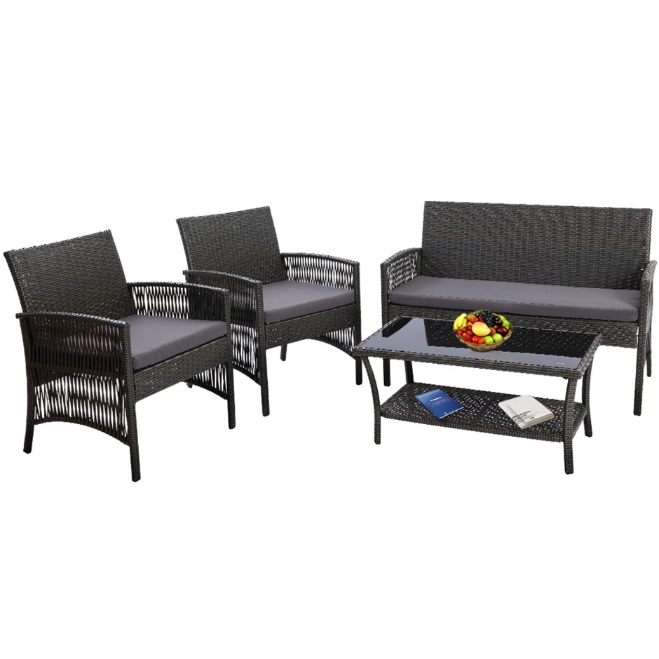 Gardeon Outdoor Furniture Rattan Set Wicker Patio Cushion 4pc Dark Grey