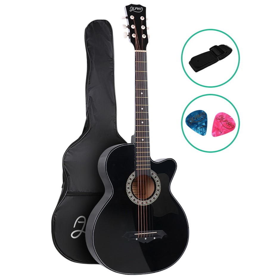 ALPHA 38 Inch Wooden Folk Acoustic Guitar Classical Steel String Black