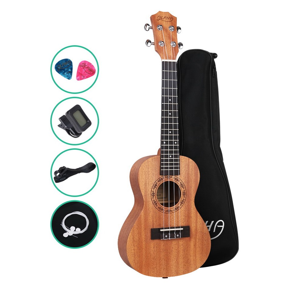 ALPHA 26 Inch Tenor Ukulele Mahogany Hawaii Guitar w/ Carry Bag Tuner