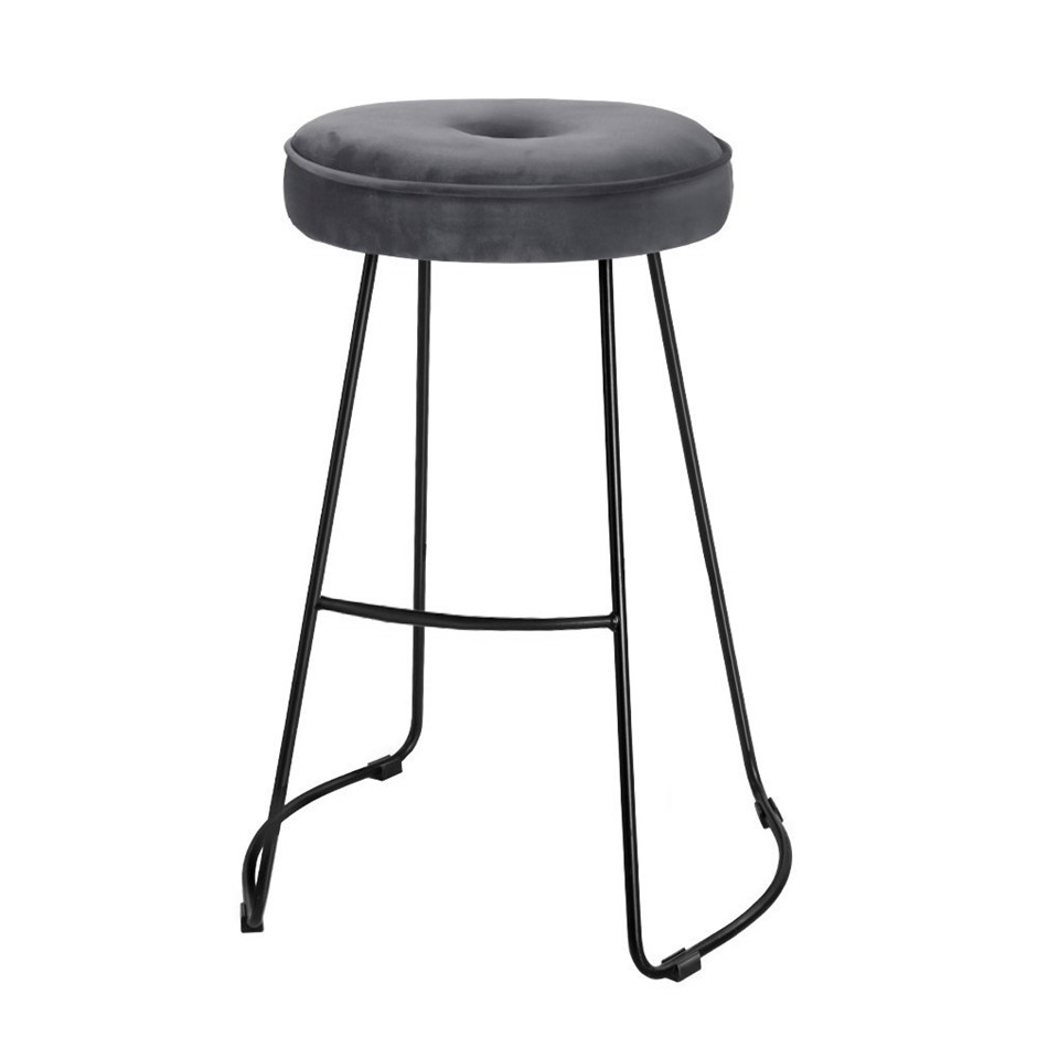 2xArtiss ORION Bar Stools Industrial Modern Chairs Suede Fabric Grey