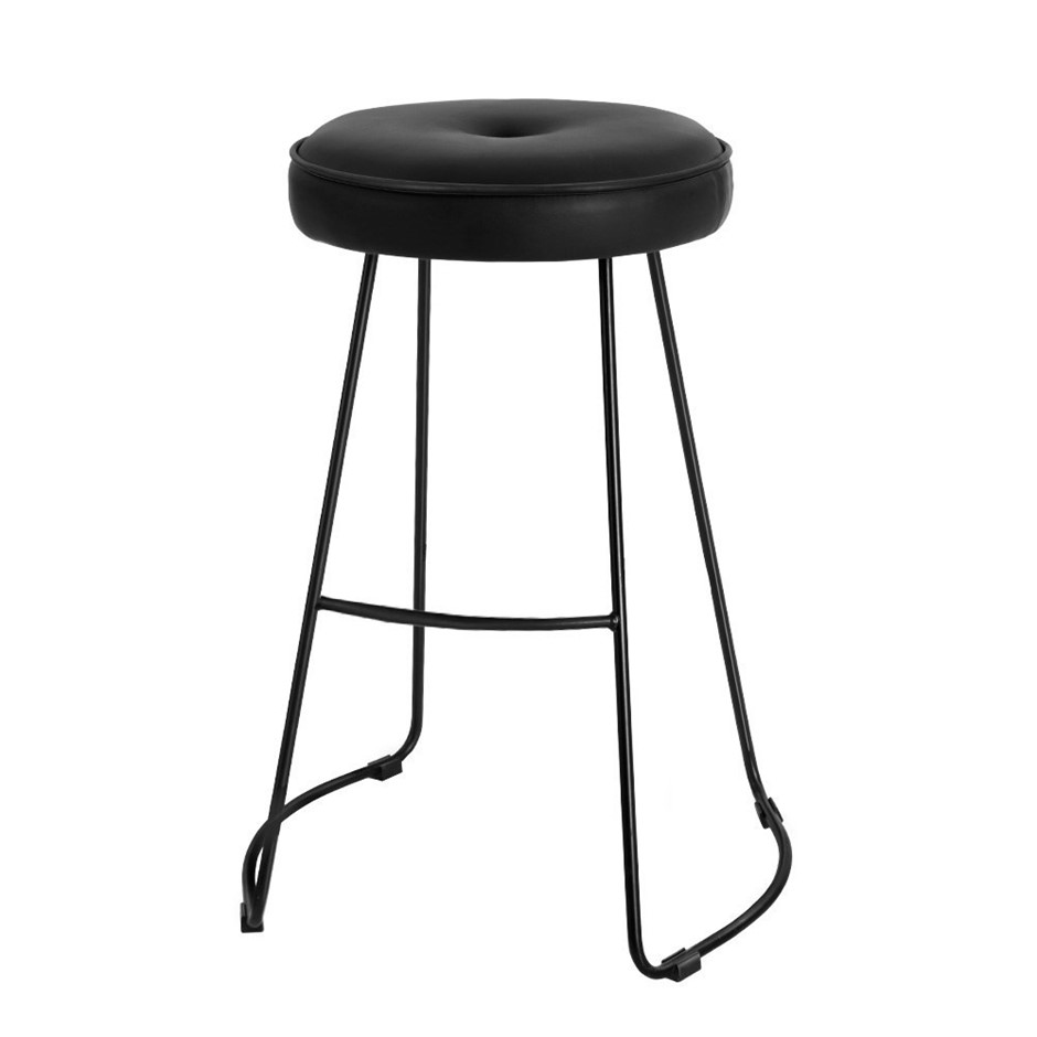 2xArtiss ORION Bar Stools Industrial Modern Dining Chair Leather Black