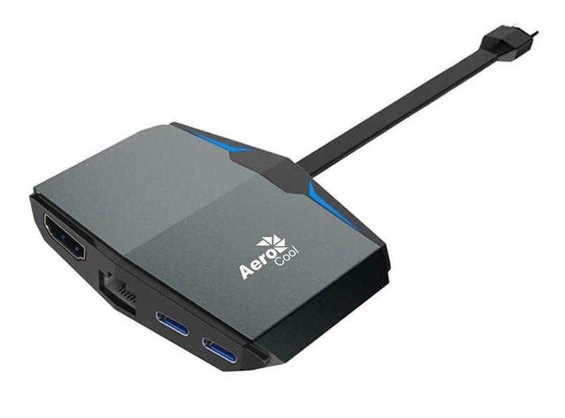 AeroCool Gaming Aluminum with Blue LED USB Type-C Multifunction Adapter