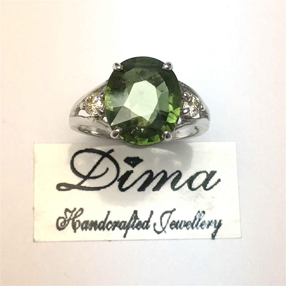 18ct White Gold, 4.35ct Sapphire and Diamond Ring