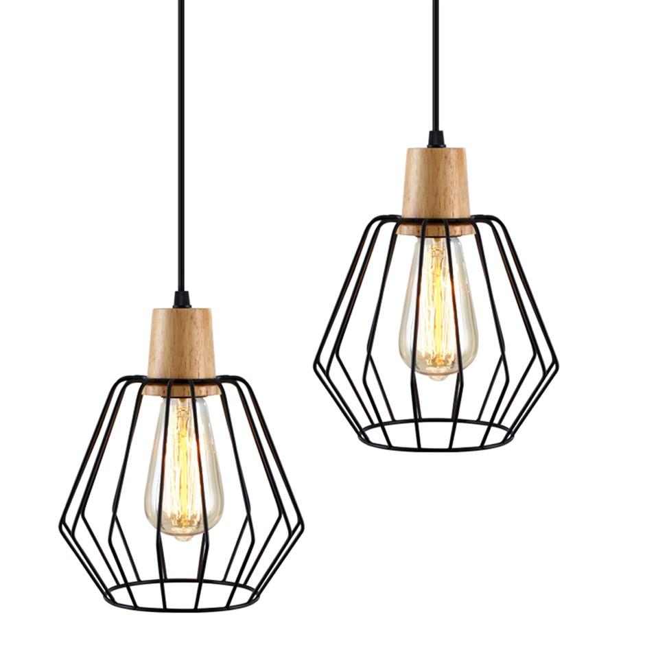 Artiss 2x Wood Pendant Light Modern Ceiling Lighting Wire Lamp Bar