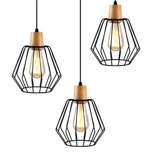 Artiss 3x Wood Pendant Light Modern Ceil