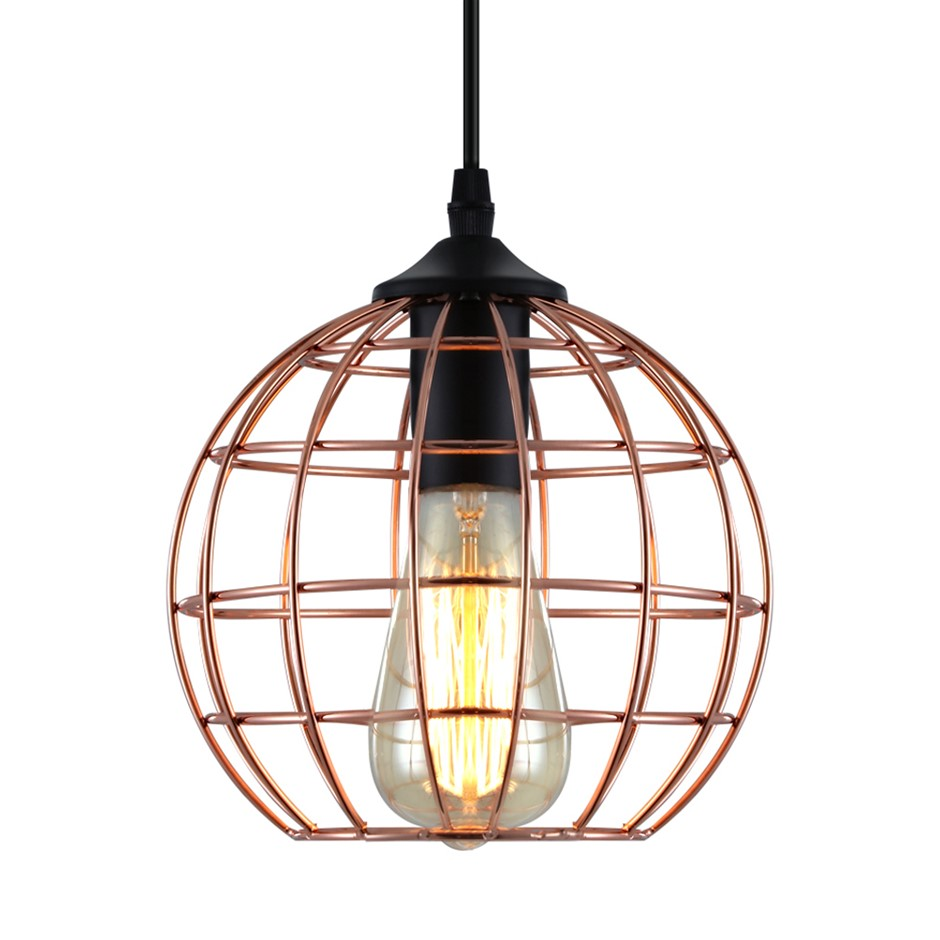 Artiss Pendant Light Modern Ceiling Metal Caged Wire Lamp Bar Home Gold