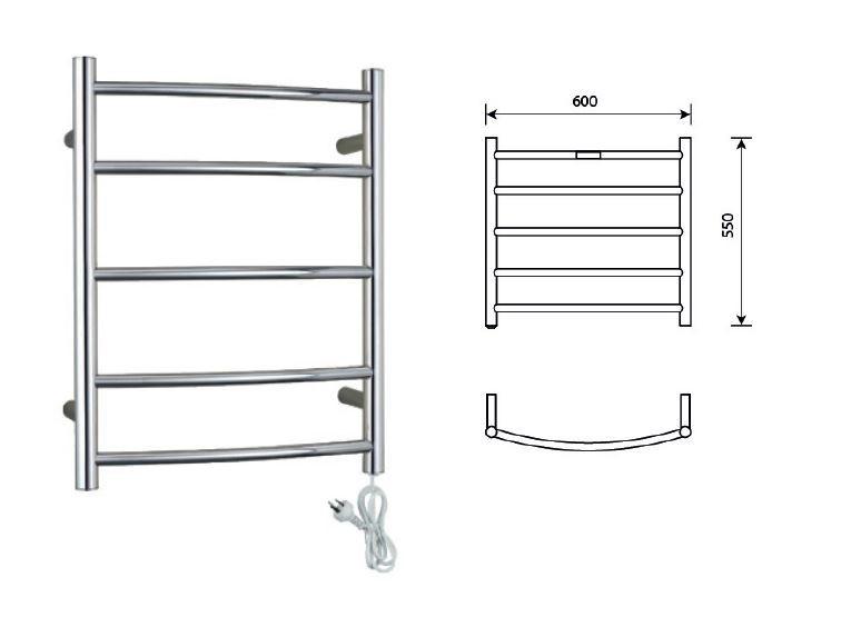 Heated Towel Rail 5 Bar Round Curved Style Universal Plug